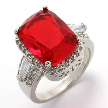 Fine Jewelry Brass with 3x 14k Gold Overlay, 5.16ctw  Ruby & AAA Grade CZ's Ring Size 7
