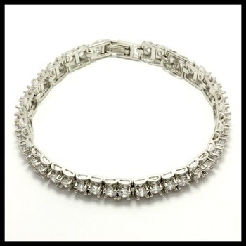 Fine Jewelry Brass with 3x 14k Gold Overlay, 5.50ctw AAA Grade CZ's Bracelets