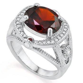 Fine Jewelry Brass with 3x 14k Gold Overlay 5.60ctw Garnet & White Sapphire Ring Size 7