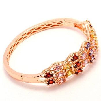 Fine Jewelry Brass with 3x 14k Gold Overlay, 6.75ctw Multi Color Gemstones Bracelet