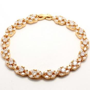 Fine Jewelry Brass with 3x 14k Gold Overlay, 7.68ctw White Topaz Bracelet