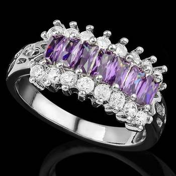 Fine Jewelry Brass with 3x 14k Gold Overlay Amethyst Ring Size 7