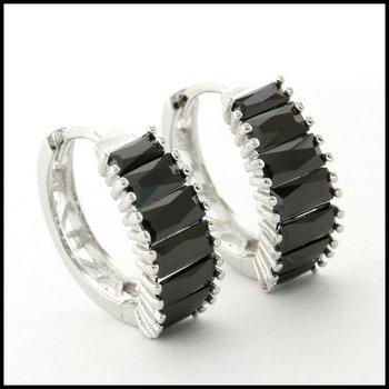 Fine Jewelry Brass with 3x 14k Gold Overlay & Black Sapphire Hoop Earrings