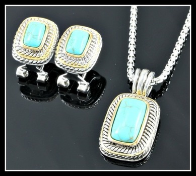 Fine Jewelry Brass with 3x 14k Gold Overlay, Chinese Turquoise Set of Necklace & Earrings
