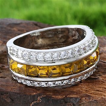 Fine Jewelry Brass with 3x 14k Gold Overlay Citrine Ring Size 7