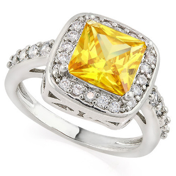 Fine Jewelry Brass with 3x 14k Gold Overlay Citrine & White Sapphire Ring Size 7