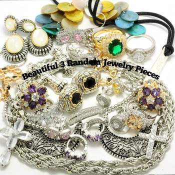 Fine Jewelry Brass with 3x 14k Gold Overlay Mixed Multi-color Stones Wholesale Lot of 3 Random Jewelry Pieces
