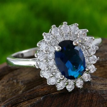 Fine Jewelry Brass with 3x 14k Gold Overlay Sapphire Ring Size 7