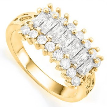 Fine Jewelry Brass with 3x 14k Gold Overlay White Sapphire Ring Size 6