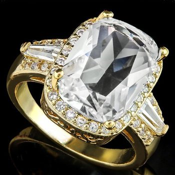 Fine Jewelry Brass with 3x 14k Gold Overlay White Sapphire Ring Size 7