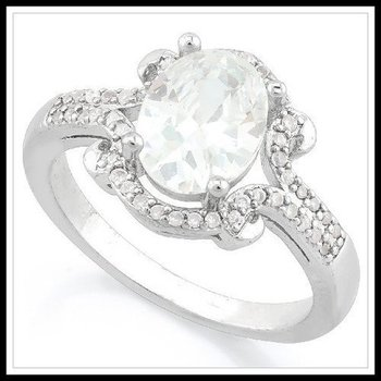 Fine Jewelry Brass with 3x 14k Gold Overlay White Topaz Ring Size 6