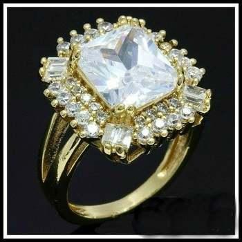 Fine Jewelry Brass with 3x 14k Gold Overlay White Topaz Ring Size 8