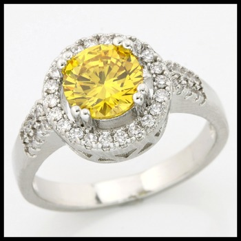 Fine Jewelry Brass with 3x 14k Gold Overlay Yellow Topaz Ring Size 7.5