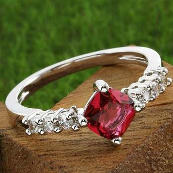 Fine Jewelry Brass with 3x 14k White Gold Overlay, 1.00ctw Pink & White Sapphire Ring Size 7.5