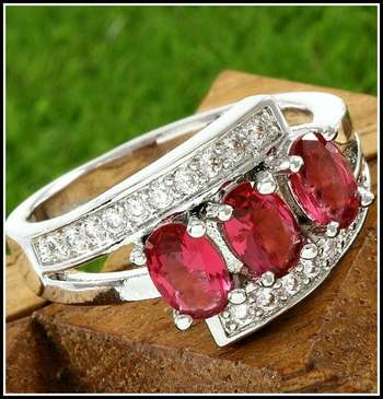 Fine Jewelry Brass with 3x 14k White Gold Overlay, 1.00ctw Ruby & White Sapphire Ring Size 7.5