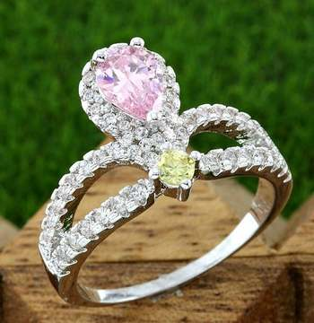 Fine Jewelry Brass with 3x 14k White Gold Overlay, 1.50ctw Pink, Yellow, and White Sapphire Ring Size 7.25