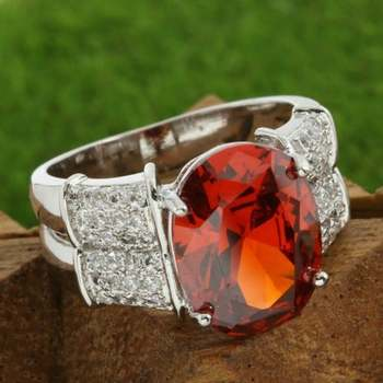 Fine Jewelry Brass with 3x 14k White Gold Overlay, 4.05ctw Ruby & White Sapphire Ring Size 7