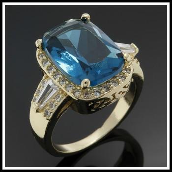 Fine Jewelry Brass with 3x 14k Yellow Gold Overlay 9.10ctw Sky Blue Topaz & White Sapphire Ring sz 7