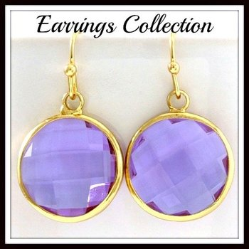Fine Jewelry Brass with 3x 14k Yellow Gold Overlay Amethyst Round Dangling Earrings