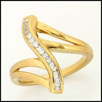 Fine Jewelry Brass with 3x 14k Yellow Gold Overlay Chennal Set Baguette CZ Ring Size 6.5