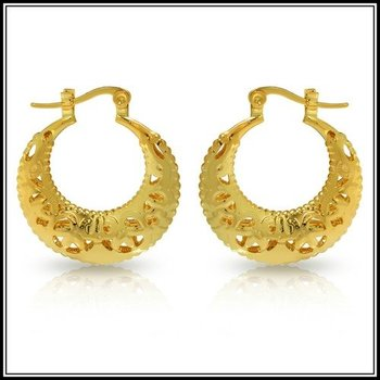 Fine Jewelry Brass with 3x 14k Yellow Gold Overlay Moon Clasp Earrings