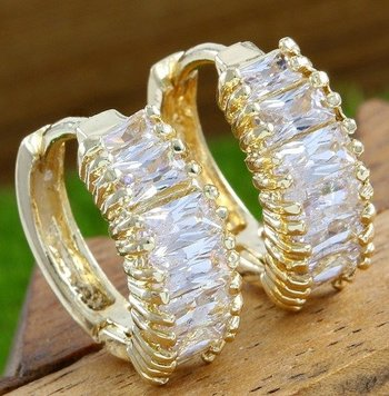 Fine Jewelry Brass with 3x 14k Yellow Gold Overlay White Sapphire Earrings