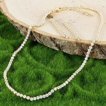 Fine Jewelry Brass with 3x 14k Yellow Gold Overlay White Sapphire Set of Necklace & Earrings