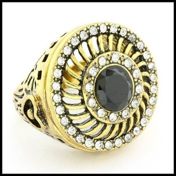Fine Jewelry Brass with 3x Gold Overlay 1.28ctw Onyx & (AAA Grade) CZ's Ring Size 6.75