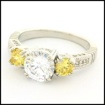 Fine Jewelry Brass with 3x Gold Overlay 2.00ctw White Topaz & 0.60ctw Vivid Topaz Ring Size 7.75