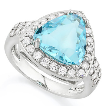Fine Jewelry Brass with 3x Gold Overlay 4.30ctw Blue Topaz & White Sapphire Ring Size 7