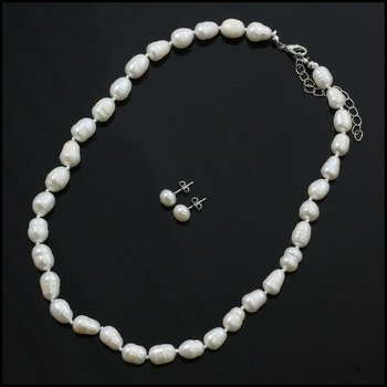 Fine Jewelry Brass with 3x Gold Overlay, 7.0mm - 10mm White Freshwater Pearl Necklace and Earrings Set