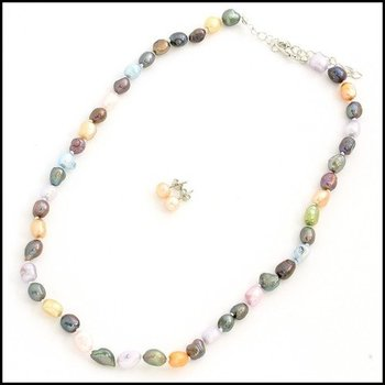 Fine Jewelry Brass with 3x Gold Overlay, 7mm - 7.5mm Freshwater Multicolor Pearl Necklace and Earrings Set