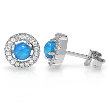 Fine Jewelry Brass with 3x Gold Overlay AAA+ Grade Blue and White Cubic Zirconia Stud Earrings