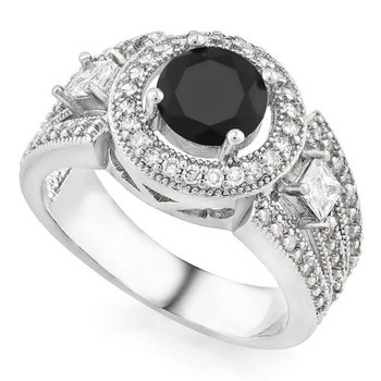 Fine Jewelry Brass with 3x Gold Overlay AAA+ Grade Fine Black and White Cubic Zirconia Ring sz 8