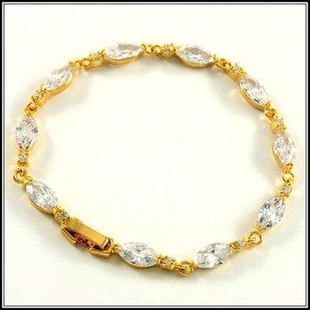 Fine Jewelry Brass with 3x Gold Overlay AAA+ Grade White Cubic Zirconia Bracelet