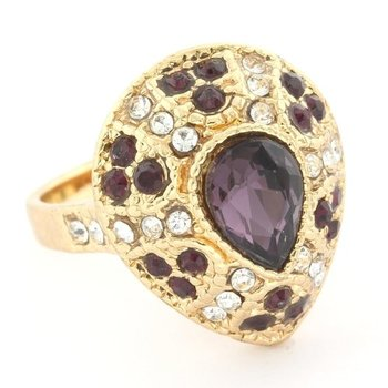 Fine Jewelry Brass with 3x Gold Overlay Amethyst & (AAA Grade) CZ's Ring Size 7