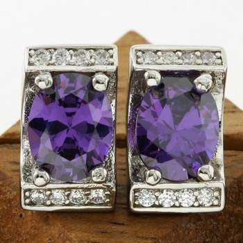 Fine Jewelry Brass with 3x Gold Overlay Amethyst Earrings
