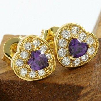 Fine Jewelry Brass with 3x Gold Overlay Amethyst Stud Earrings