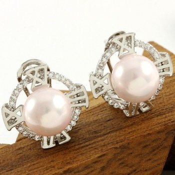 Fine Jewelry Brass with 3x Gold Overlay Beautifully Created 10mm Pink Pearl and 0.50ctw White Sapphire Earrings