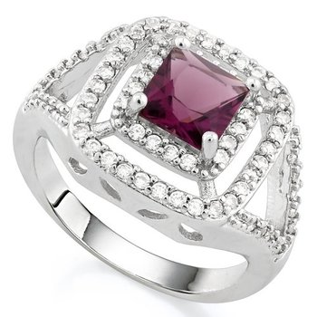 Fine Jewelry Brass with 3x Gold Overlay Beautifully Created Amethyst  and White Sapphire Ring sz 8