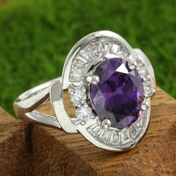 Fine Jewelry Brass with 3x Gold Overlay Beautifully Created Amethyst Ring Size 7