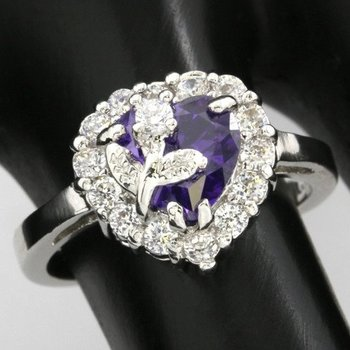 Fine Jewelry Brass with 3x Gold Overlay Beautifully Created Amethyst Ring sz 7