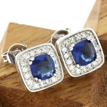 Fine Jewelry Brass with 3x Gold Overlay Beautifully Created Blue and White Sapphire Stud Earrings