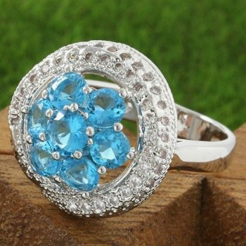 Fine Jewelry Brass with 3x Gold Overlay Beautifully Created Blue Topaz Ring Size 7
