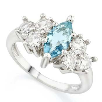 Fine Jewelry Brass with 3x Gold Overlay Beautifully Created Blue Topaz Ring sz 8