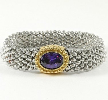 Fine Jewelry Brass with 3x Gold Overlay Beautifully created Fine Amythest Magnetic Bracelet