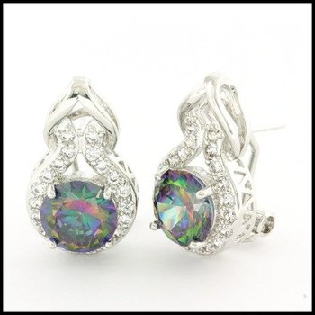 Fine Jewelry Brass with 3x Gold Overlay Beautifully Created Mystic Topaz Earrings