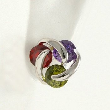 Fine Jewelry Brass with 3x Gold Overlay Beautifully Created Ruby, Amethyst and Peridot Earrings