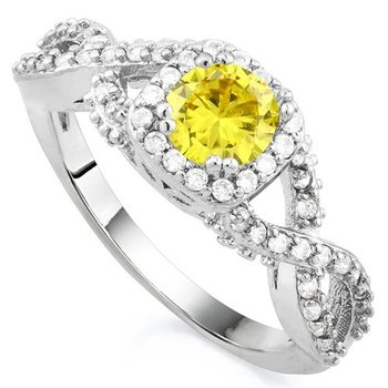 Fine Jewelry Brass with 3x Gold Overlay Beautifully Created Yellow and White Sapphire Ring sz 7