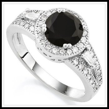 Fine Jewelry Brass with 3x Gold Overlay Black Sapphire Ring Size 7